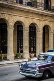 HDR Cuba american Oldtimer parked in Havanna Royalty Free Stock Photo
