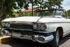 HDR Cuba american white Oldtimer parked in havana Royalty Free Stock Photos