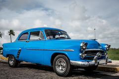 HDR Cuba blue american classic car parked Royalty Free Stock Photography