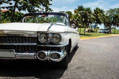 HDR Cuba white Oldtimer parked in havana Royalty Free Stock Photography