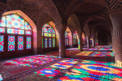 HDR de Nasir al-Mulk Mosque em Shiraz, Irã Fotos de Stock