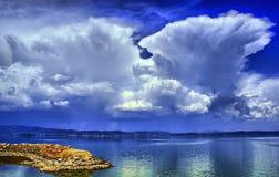 Hdr del lago Trasimeno immagini stock