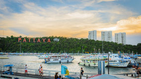 Hdr di tramonto di Pattaya Immagini Stock