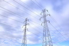 HDR Electrical Towers. High dynamic range of two electrical towers Royalty Free Stock Image
