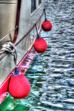Hdr fenders. Boat fenders in hdr tone stock photo