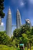 HDR-foto van de Tweelingtorens van Petronas, Kuala, Lumpur Stock Afbeelding