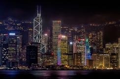 HDR-Foto von Hong Kong Skyline nachts im Jahre 2013 Lizenzfreie Stockfotos