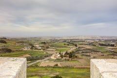 HDR-Foto von Malta-Landschaft von der Spitze der historischen Stadt Mdina in der Sonne des späten Nachmittages Lizenzfreie Stockbilder