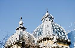 HDR-fotoceg die het dak van het de Boulevardglas van Boekarest Roemenië Victoriei bouwen royalty-vrije stock foto