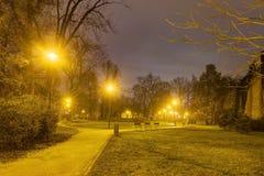 HDR fotoet av den Olomouc staden parkerar i vinter med ingen snö på natten, Tjeckien Royaltyfri Foto