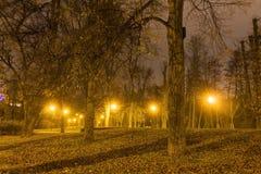 HDR fotoet av den Olomouc staden parkerar i vinter med ingen snö på natten, Tjeckien Fotografering för Bildbyråer