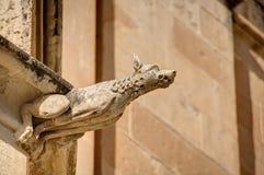 HDR fotografia historyczny kamienny gargulec na krawędzi starego domu w Mdina mieście, historyczny kapitał Malta Obraz Royalty Free