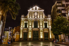HDR fotografia St. Dominics kościół przy nocą, Macau Zdjęcie Royalty Free