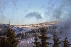 HDR fotografii zima w KrkonoÅ ¡ e górze Zdjęcie Royalty Free