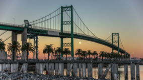 HDR Full Moon Port of LA Vincent Thomas Bridge Time Lapse stock footage