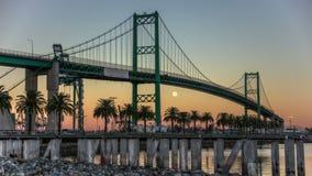 Free HDR Full Moon Port Of LA Vincent Thomas Bridge Time Lapse Royalty Free Stock Image - 47659356