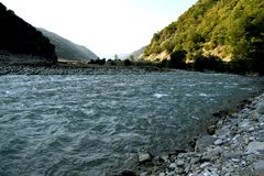 3 hdr górskiej zdjęć panoramy rzeka pionowe Zdjęcia Royalty Free