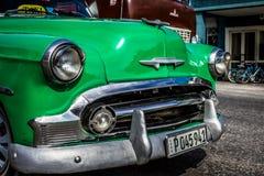 HDR green american classic car in Santa Clara Cuba Stock Photos