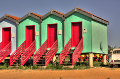 HDR houses. Colorful HDR little houses with red doors Royalty Free Stock Images