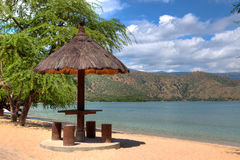 Natural leaf hut on a beach in Dili Royalty Free Stock Photography