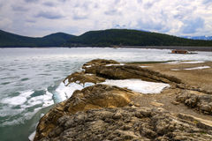 HDR Icy Rocky Shore line Stock Photo