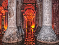 Basilica cistern HDR. An HDR image of the dark, damp and gloomy basilica cistern situated under the turkish city of Istanbul stock images