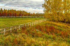 The HDR image of the empty autumn levade Stock Photo
