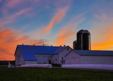 HDR image of farm at sunset Royalty Free Stock Photography