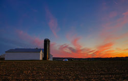 HDR image of farm at sunset Stock Photos