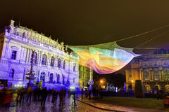 HDR image of the 1.26 floating net installation by Janet Echelman in front of Rudolfinum next to Palach square (Palachovo namesti) Stock Photo