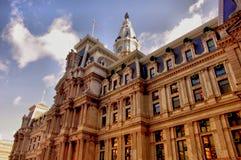 HDR image of gothic Philadelphia City Hall in sunrise light stock photo