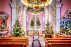 HDR image of the interior of church at Christmas Stock Photo