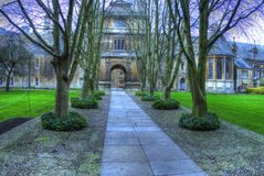 HDR image of internal courtyard, Cambridge Royalty Free Stock Photo