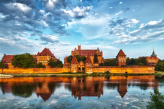 HDR image of medieval castle in Malbork with reflection Royalty Free Stock Image