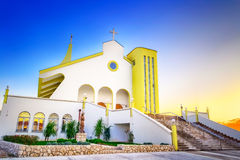 HDR image of modern church in Croatia with blue sky above Stock Photo