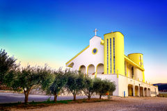 HDR image of modern church in Croatia with blue sky above Royalty Free Stock Photography