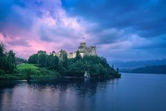 HDR image of Niedzica Castle at sunset. In Niedzica, Lesser Poland stock photography