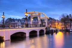 Skinny bridge. HDR image of the skinny bridge in Amsterdam, the Netherlands, early in the morning in winter Stock Photography