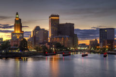 HDR image of the skyline of Providence, RI. HDR image of the skyline of Providence, Rhode Island from the far side of the Providence River viewed just as the sun Royalty Free Stock Photo