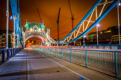HDR image of Tower brige. At night with light trails Royalty Free Stock Photo