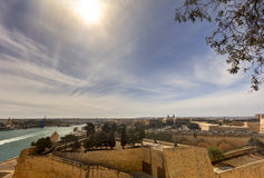 HDR image of a view on the Valletta harbor from the historic Upper Barraka garden area in Malta.  Royalty Free Stock Images