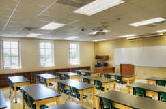 HDR of Interior of Classroom. Ready for First Day of School Royalty Free Stock Images