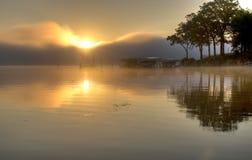 HDR of Lake Okoboji. Iowa at Sunrise in the Summer Stock Photos