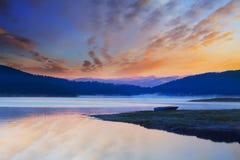 Hdr lake in winter Stock Image