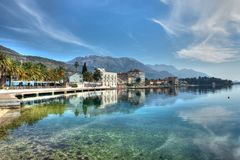 HDR landscape image of adriatic sea and mountains Royalty Free Stock Photos