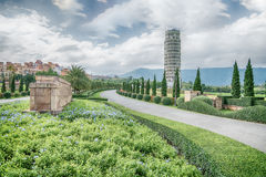 HDR,The Leaning Tower of Pisa , the Tower of Pisa ,Thailand. Royalty Free Stock Photos