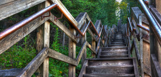 HDR of a long stairway Stock Photos