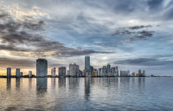 HDR of Miami Skyline Royalty Free Stock Photography