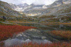 HDR mountain landscape with lake and red reeds Royalty Free Stock Photos