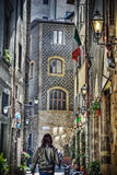 Hdr narrow backstreet in Florence Royalty Free Stock Image